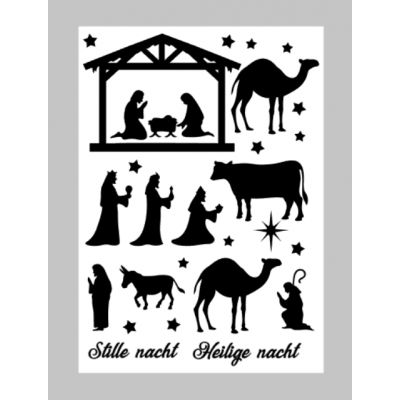 Kerststal sticker A4